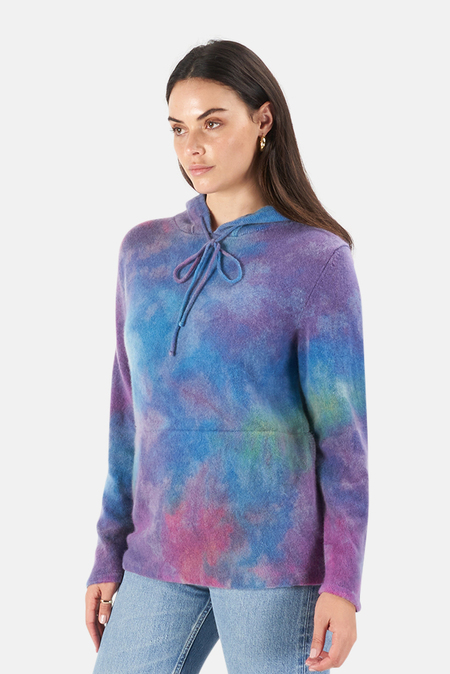 Harden Color Drop Ice Dye Hoodie Sweater - Blue/Pink/Yellow