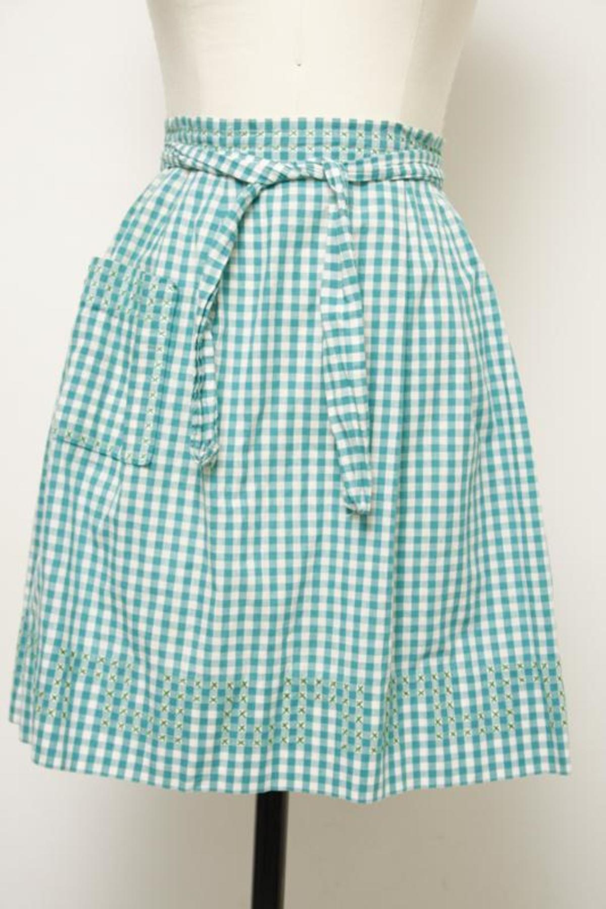 ON SALE Vintage Green Gingham Apron with  Orange Embroidery