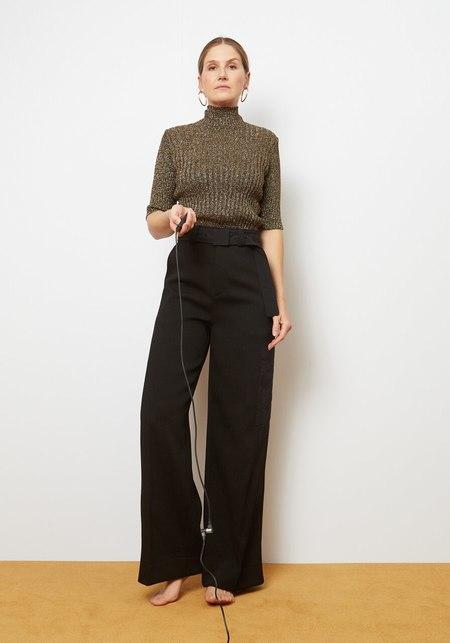 Ganni Glitter Knit Roll Neck - Brown/Bronze Glitter