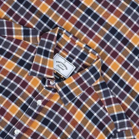 Portuguese Flannel Autumn Shades Check Flannel Shirt - Yellow/Maroon