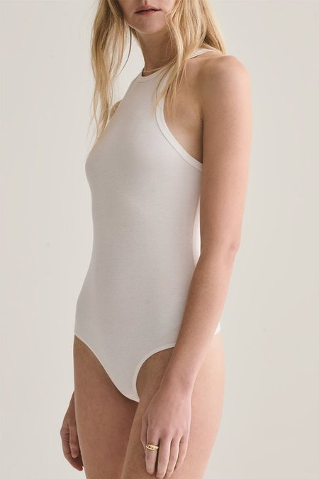 AGOLDE RIANNE HIGH NECK BODYSUIT - WHITE