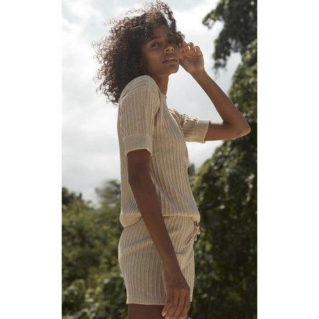 Ruestiic Pamela Knit Tee  Women's Clothing Boutique Tops - Sand
