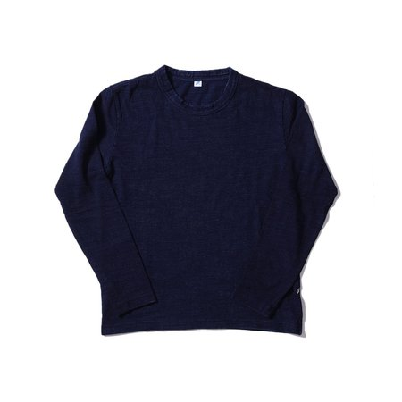 Pure Blue Japan Knitted Slub Jersey Crewneck LS Tee - Indigo