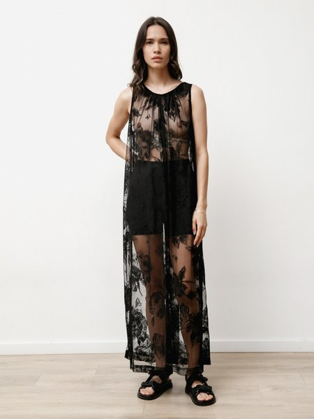 Priory Floral Lace Dress - Lace Black
