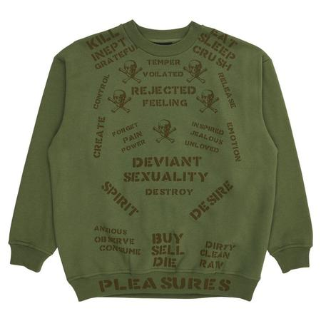 PLEASURES Crush Crewneck Sweatshirt - Army