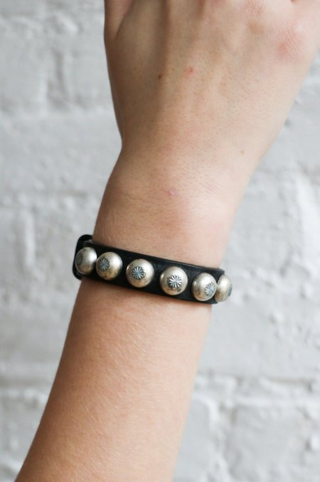 PRE-LOVED Ronald Pineau Leather Bracelet - black