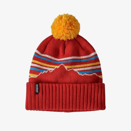 Patagonia Powder Town Fitz Roy Retro Stripe Knit Beanie - Hot Embe