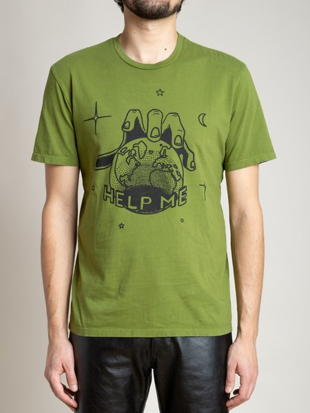 Freemans Sporting Club Help Vintage Inspired Printed T-Shirt - Golden Green
