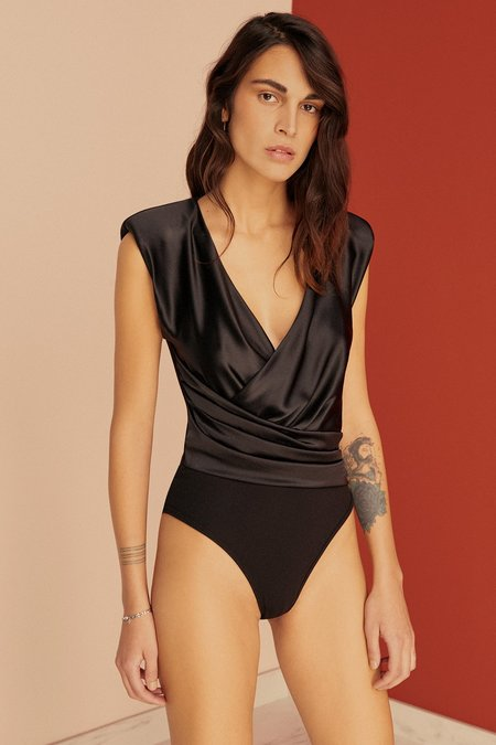 Else Giselle Power Shoulder Silk Wrap Bodysuit - Black