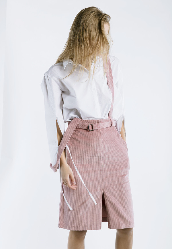 Outstanding Ordinary Corduroy Skirt with Detachable Straps