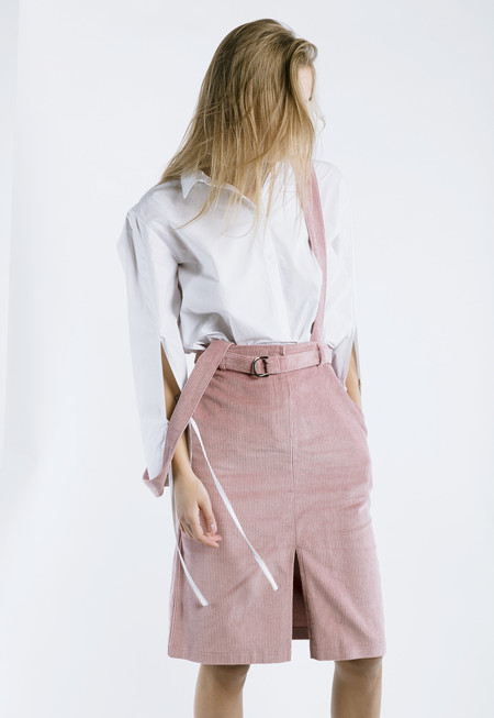 Outstanding Ordinary Corduroy Skirt with Detachable Straps - blush