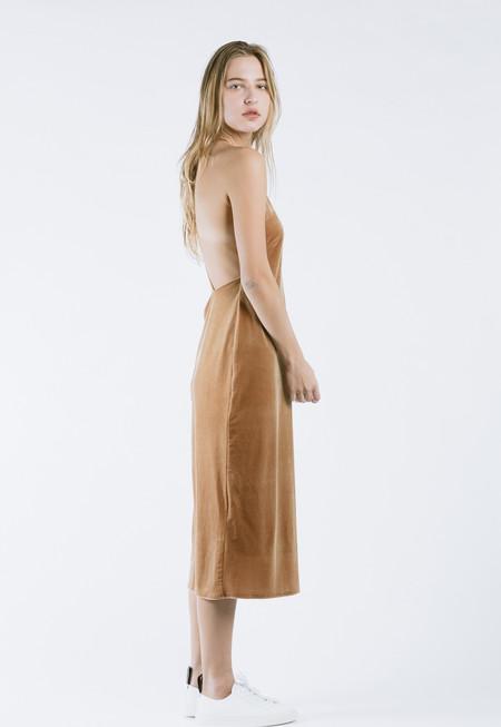 ROCKET X LUNCH Velvet Slip Dress in Camel