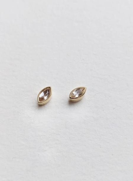 Little Gold Topaz Mini Magic Eye Stud - White