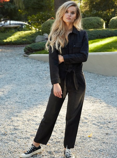 Mother Denim The Belted Fixer Jumpsuit - Blackout