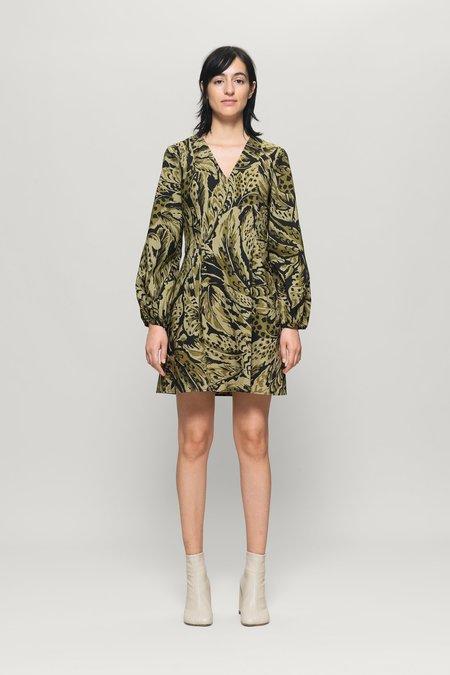 Baum und Pferdgarten Alivia Long Sleeve Mini Dress - Olive Feather