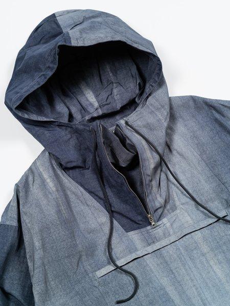 Auralee Nylon Streak Dyed Half-Zip Hoodie - Dark Blue