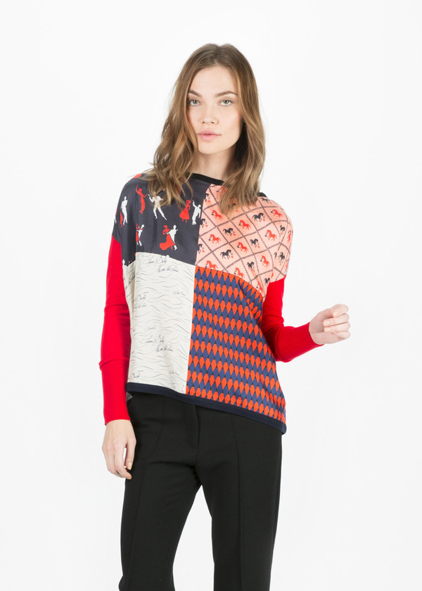 La Prestic Ouiston Silk and Wool Patchwork Top