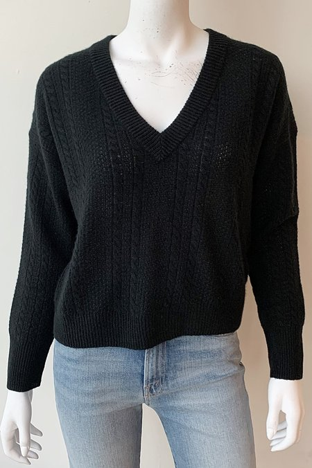 Naadam Cable Knit V-Neck Sweater - Black