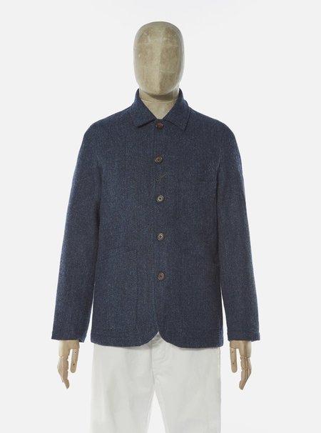 Universal Works Herringbone Harris Tweed Bakers Jacket - Navy