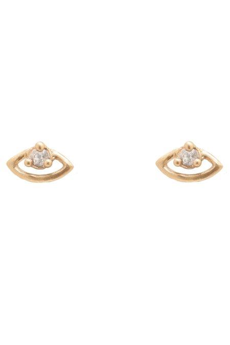 Valley Rose Miro Eye Studs - White Sapphire
