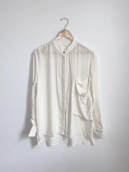 Vincetta Silk Banded Collar Shirt - Ivory