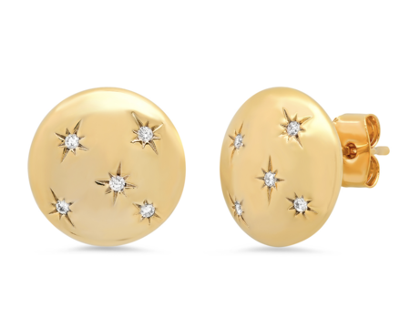 Tai Large Button Post Earring - Gold CZ