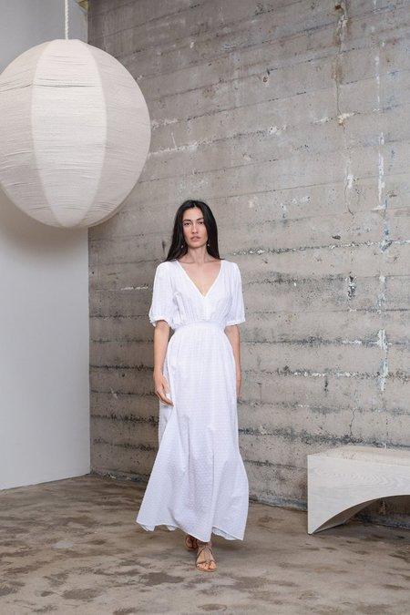 Natalie Martin Laurie Swiss Dot Dress -  White