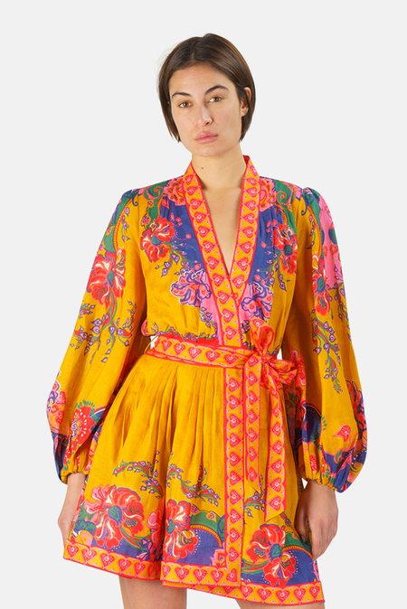Zimmermann Lovestruck Wrap Mini Dress - Gold Paisley Floral