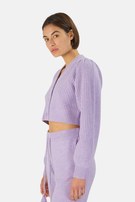 LoveShackFancy Avignon Crop Cardigan Sweater - Purple