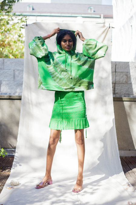 Abacaxi Tie-Dye Balloon Sleeve Hoodie - Green