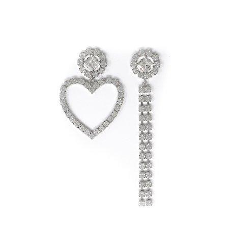 Joomi Lim Asymmetrical Crystal Flower Heart & Crystal Chain Earrings