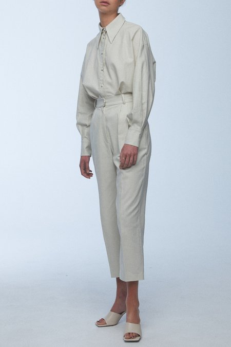 baaby Pleat Front Trousers - Eggshell