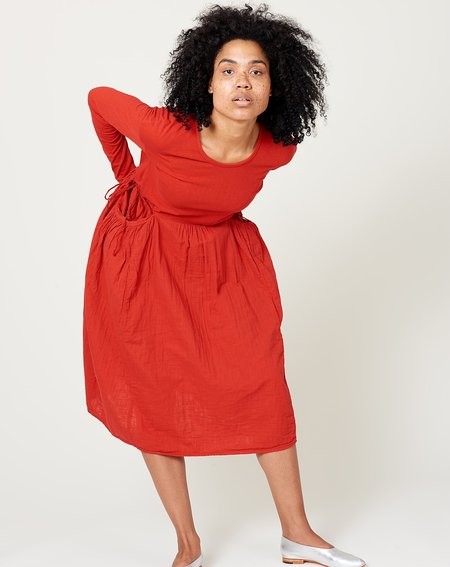 Kapital Jersey and Gauze Butter Dress - Red