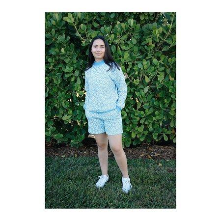 HVN Daisy Printed Mockneck - Sky Blue