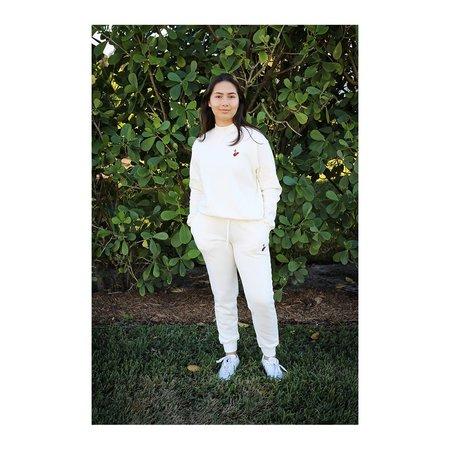 HVN Embroidered Cherry Mockneck - White