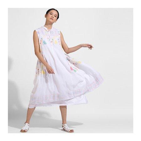 Injiri Muslin Dress - Yellow Stripe