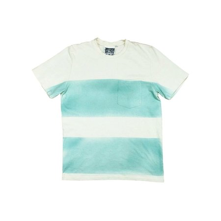Unisex Jungmaven Wide Striped Baja Tee - white/blue