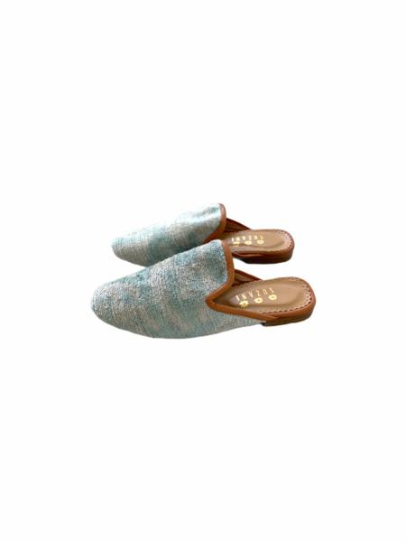 Suzani Designs Velvet Ikat Mules - Blue