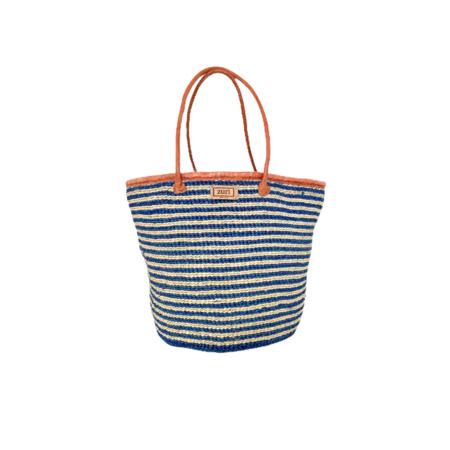 Zuri Sisal Tote Bag - Blue Stripe