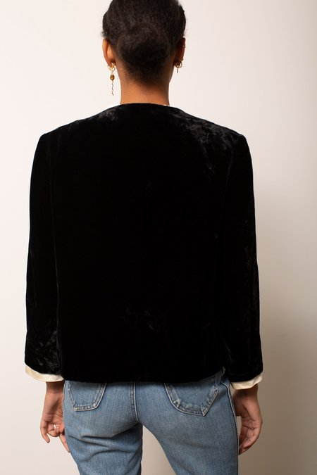 Vintage Velvet Blazer - Black
