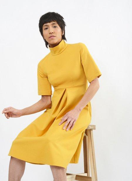 Meg Invert Pleat Dress - Mustard