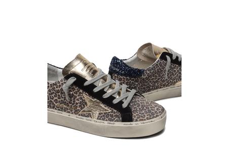Golden Goose Hi Star Sneakers - Leopard Suede/Glitter Heel