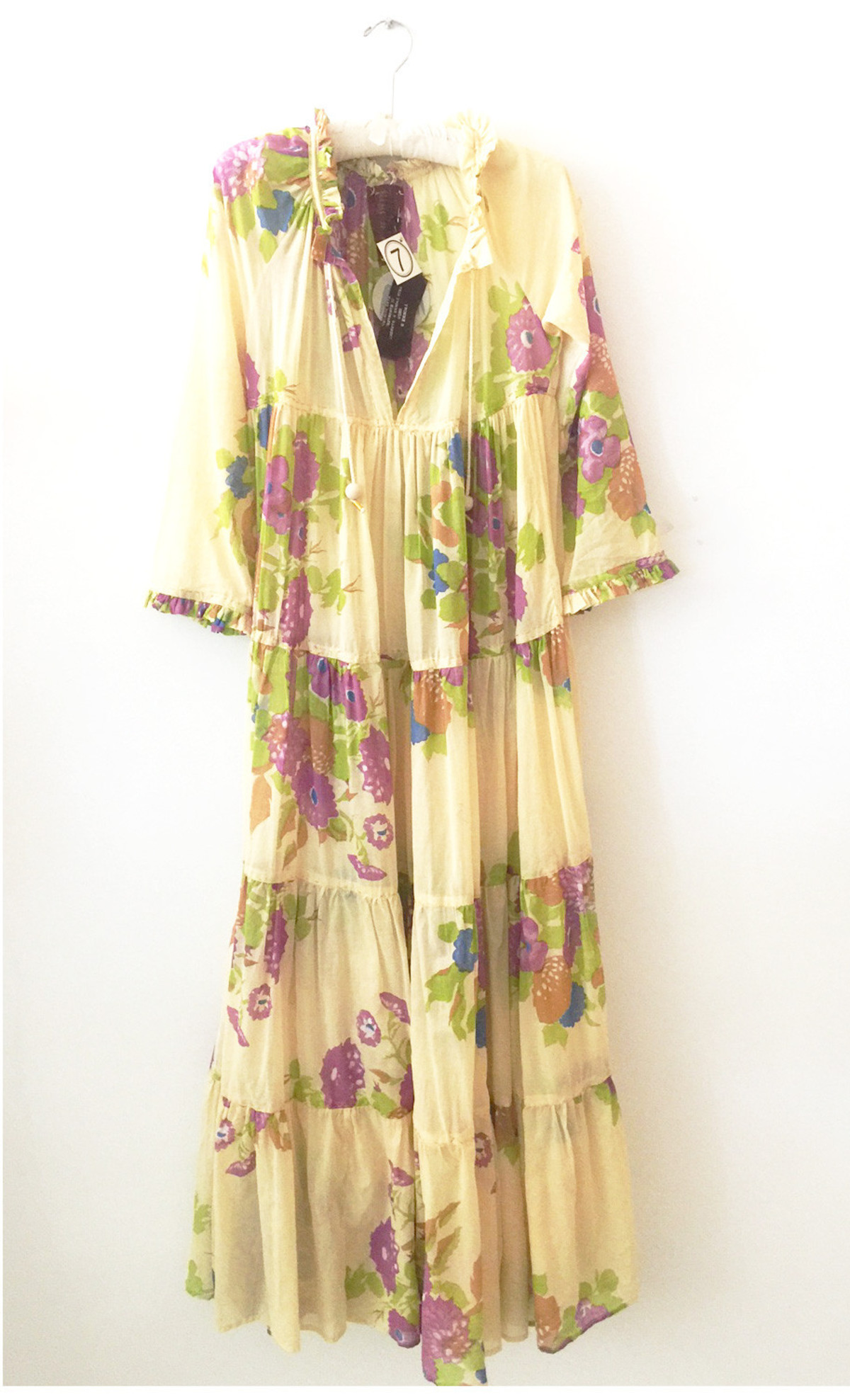 Yvonne S Sheer Maxi Hippy Dress Yellow With Big Flowers Garmentory