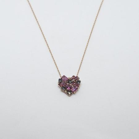 Suzanne Kalan 14k Rose Gold Baguette Heart Necklace - White DiamondMorganite
