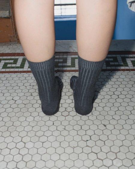 Baserange Cashmere Rib Ankle Socks - Grey Melange