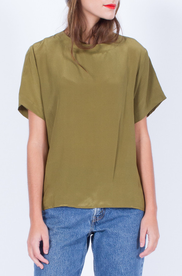 Yo Vintage! KHAKI SILK TOP
