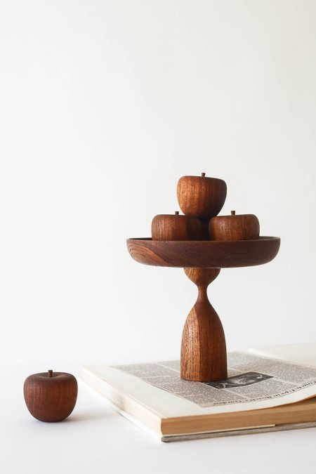 PRE-LOVED Leigh Collective Wooden Pedestal & Apple Set - brown