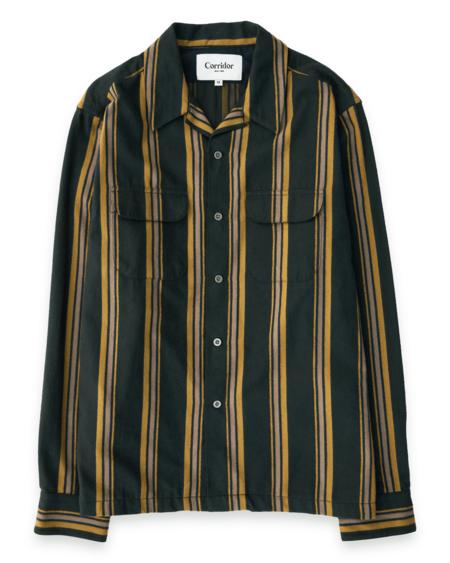 Corridor Moleskin Regiment Stripe Shirt - Olive
