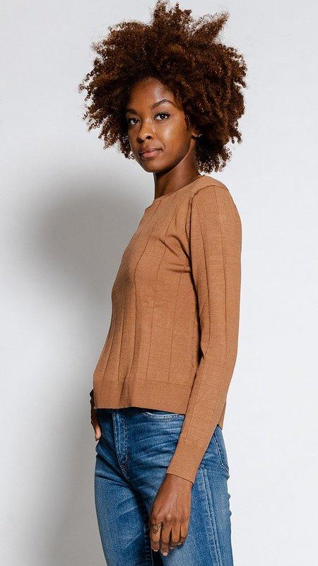 Rachel Comey Baylis Top - Chestnut Silk Pinstripe