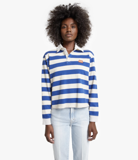 Mother Denim THE LONGSLEEVE BOXY POLO CROP TEE - GAME ON